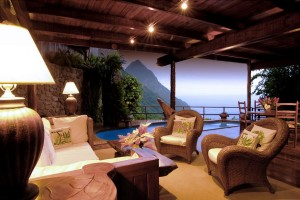 Caribbean; St.Lucia, Ladera Resort, 2BED VILLA (B) living area & view (evening)