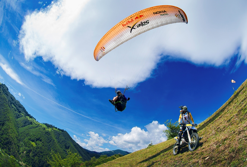 Toma Coconea and Martin Freinadametz riding during the Red Bull Men Against Machine at Lake Balea on May 28th, 2013