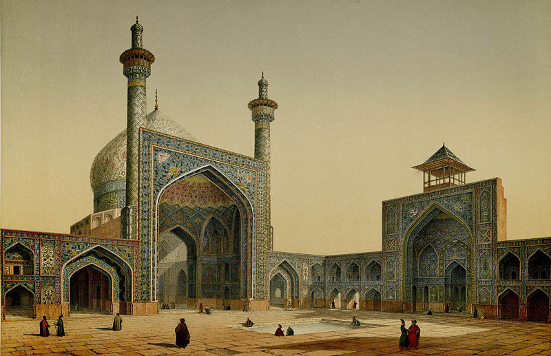 Masjid_Shah,_view_of_the_courtyard_by_Pascal_Coste